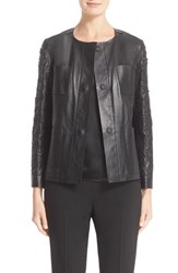 Lafayette 148 New York Women's 'Holland' Laser Cut Paisley Tissue Weight Lambskin Leather Jacket