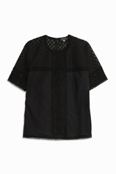 Andrew Gn Women S Plumetis Lace Top Boutique1 Black