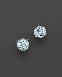 Bloomingdale's 14K White Gold Aquamarine Round Earrings Blue