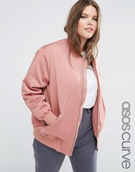 Asos Curve Bomber Jacket With Zip Detail Pink