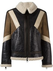 Neil Barrett Panelled Leather Jacket Brown