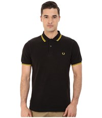 Slim Fit Twin Tipped Fred Perry Polo Ozone Black Yellow Men's Short Sleeve Knit