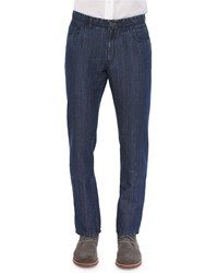 Brioni Five Pocket Cotton Linen Denim Jeans Blue