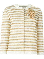 Ermanno Scervino Flower Appliqua Striped Cardigan White