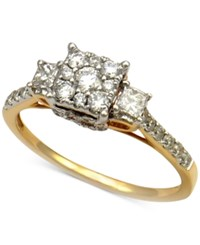 Macy's Diamond Three Stone Engagement Ring 7 8 Ct. T.W. In 14K Yellow Gold