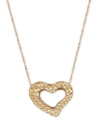 Macy's Textured Open Heart Pendant Necklace In 10K Gold Yellow Gold