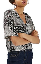 Topshop Women's 'Holly' Scarf Print V Neck Blouse