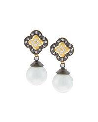 Freida Rothman Pave Crystal Clover Pearly Drop Earrings Women's