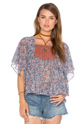 Twelfth St. By Cynthia Vincent Printed Scarf Sleeve Top Blue