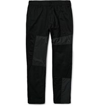 White Mountaineering Slim Fit Panelled Cotton Canvas Shell And Twill Trousers Black