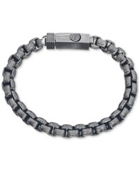 Esquire Men's Jewelry Antique Look Rounded Box Link Bracelet In Gunmetal Ip Over Stainless Steel First At Macy's