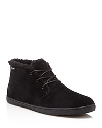 Cole Haan Pinch Weekender Faux Shearling Chukka Boots Black Suede