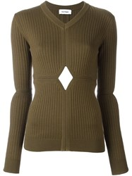 Courreges Cut Off Detailing Knit Blouse Green
