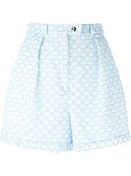Carven Embroidered Shorts Blue