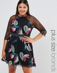 Little Mistress Plus Printed Skater Dress With Lace Sleeves Multi