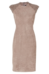 Ralph Lauren Black Label Suede Laser Cut Leather Dress In Mink