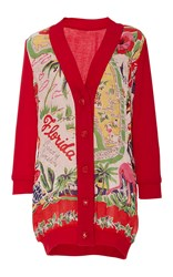 Anna Sui Florida Land Of Sunshine Cardigan Red