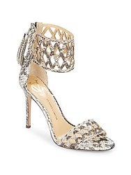 Vince Camuto Mance Snake Embossed Leather Ankle Cuff Pumps Natural