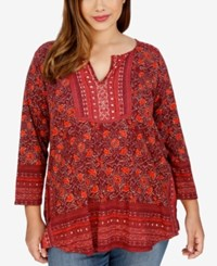 Lucky Brand Trendy Plus Size Embroidered Peasant Top Red Multi