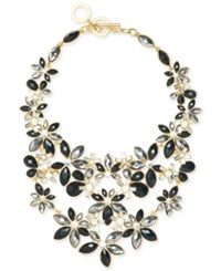 Anne Klein Gold Tone Stone And Crystal Floral Statement Necklace Jet