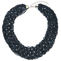 John Lewis Seed Bead Statement Collar Necklace Navy