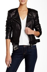Steve Madden Belted Genuine Leather Jacket Black