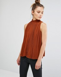 New Look High Neck Pleated Shell Top Ginger Fizz Orange