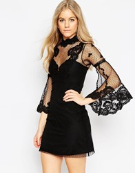 Asos High Neck Edwardian Mini Babydoll Dress Black