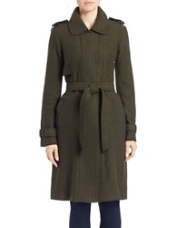 Vince Camuto Long Wool Blend Trench Coat Olive Navy Blue