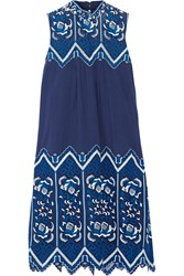 Sea Crochet Paneled Cotton Dress Storm Blue