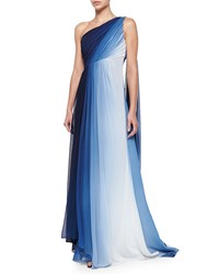 Monique Lhuillier One Shoulder Ombre Draped Gown Navy White