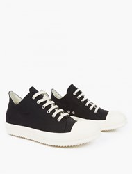 Rick Owens Black Canvas Low Top Sneakers