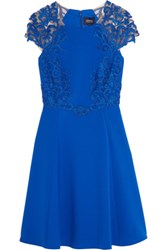 Marchesa Notte Tulle Paneled Stretch Cady Dress Royal Blue