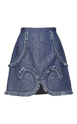 Andrew Gn Studded Denim Mini Skirt Blue