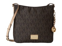 Michael Michael Kors Jet Set Travel Large Messenger Brown Leather W Pvc Logo Cross Body Handbags