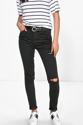 Boohoo High Waisted Ripped Skinny Jeans Black