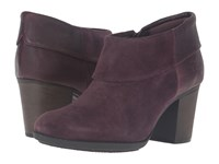 Clarks Enfield Canal Aubergine Suede Leather Women's Boots Brown