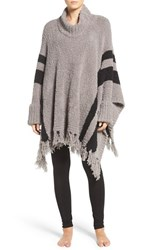 Barefoot Dreamsr Women's Dreams 'Cozy Chic Beach' Fringe Lounge Poncho Warm Gray Black