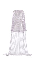 Luisa Beccaria Mini Tulle Embroidered Jumpsuit With Cape Purple