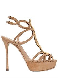 Sergio Rossi 120Mm Circle Laser Cut Suede Sandals