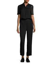 Dkny Button Down Short Sleeve Jumpsuit Black