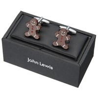 John Lewis Gingerbread Man Cufflinks Brown Silver