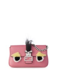 Fendi Micro Leather Rabbit Fur And Fox Fur Buggie Baguette Pink Multi