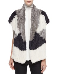 Vince Colorblock Rabbit Fur Vest Women's Ltgry Offwht Cst