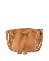 Isabella Fiore Bari Mini Drawstring Crossbody Bag Cognac