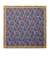 Turnbull And Asser Paisley Silk Pocket Square Unisex Blue