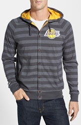 Mitchell And Ness 'Los Angeles Lakers' Stripe Button Front Jersey Hoodie Dark Grey