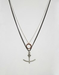 Icon Brand Anchor And Circle Necklace Pack Gold