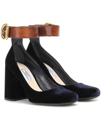 Prada Velvet And Leather Pumps Blue