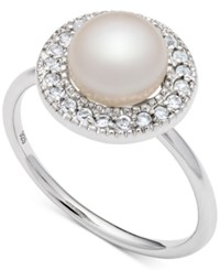 Macy's Freshwater Pearl 7 1 2Mm And White Topaz 1 5 Ct. T.W. Ring In Sterling Silver